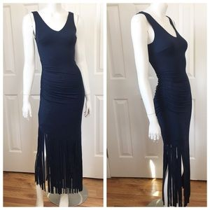 NEW INC navy blue body con v neck fringe dress XS